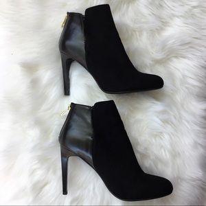 Zara Vegan Suede & Leather Heeled Ankle Booties 9